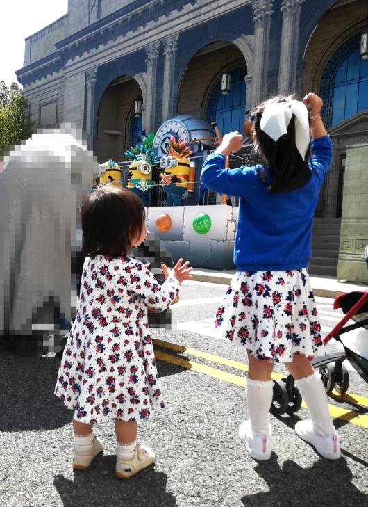 子連れ旅行USJユニバニューヨークエリアミニオンショーノリノリの4歳1歳