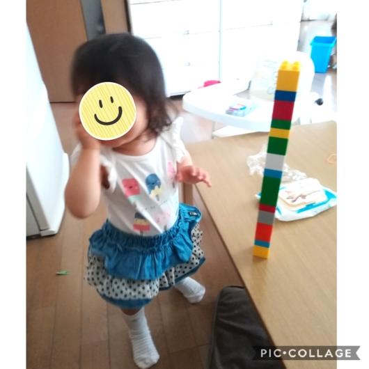 ブロックラボ高く積み上げてごきげん1歳