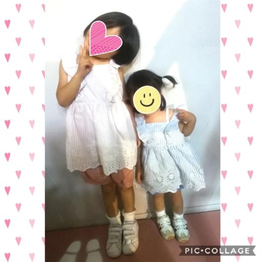 姉妹お揃いコーデpetitmainプティマインレースチュニックピンク120cmブルー90cm4歳1歳