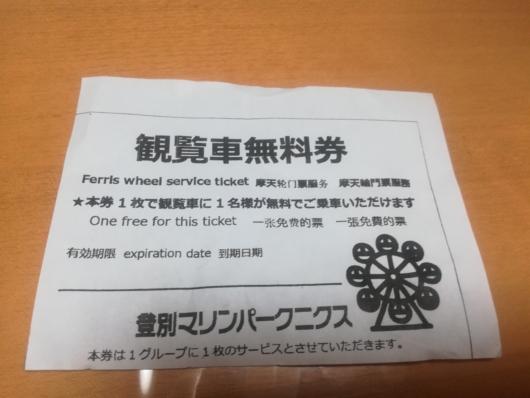 登別マリンパークニクス観覧車無料券