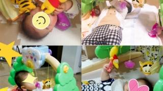 0歳向け知育玩具くまのプーさんジムにへんしんメリー5ヶ月