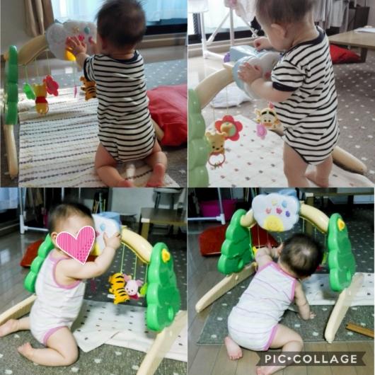 0歳向け知育玩具くまのプーさんジムにへんしんメリーはいはいつかまり立ち7ヶ月8ヶ月