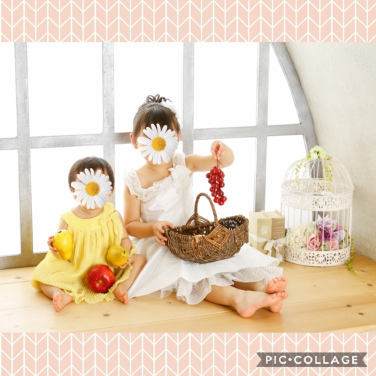 プレシュスタジオ1歳バースデーフォト衣装姉妹4歳1歳