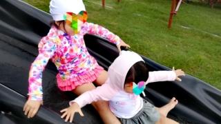 子連れ旅行びわ湖バレイウォータースライダー短い方4歳1歳