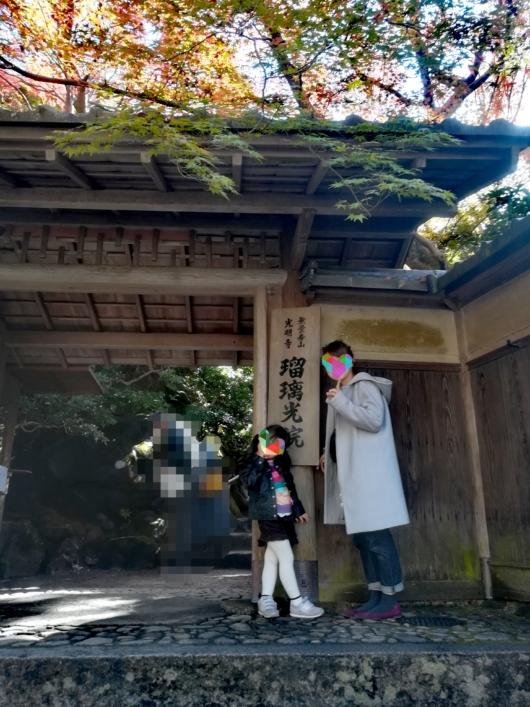 子連れ旅行京都瑠璃光院山門紅葉時期
