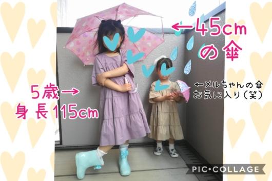 子供レイングッズ傘バースデイ45cm5歳サイズ感115cm