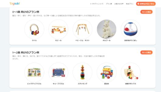 知育玩具の定額レンタルサービストイサブ!おもちゃの一例実際のプラン