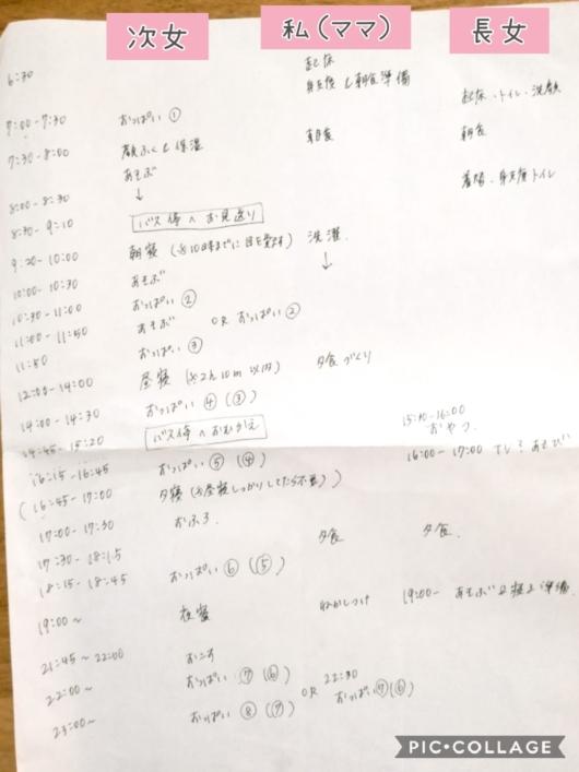 ジーナ式手作りスケジュール2人姉妹上の子幼稚園