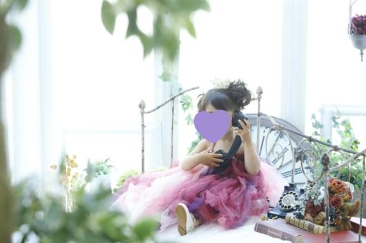 姉妹一緒に七五三撮影かわいい衣装お揃いドレススタジオ4c。大阪貸切フォトスタジオおしゃれ