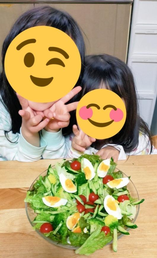 6歳3歳子ども料理サラダの盛り付けゆで卵ホットクック